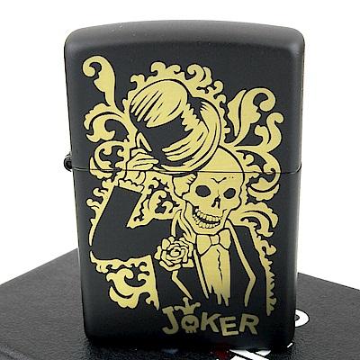 ZIPPO 美系~Joker-骷髏小丑圖案黑色烤漆打火機