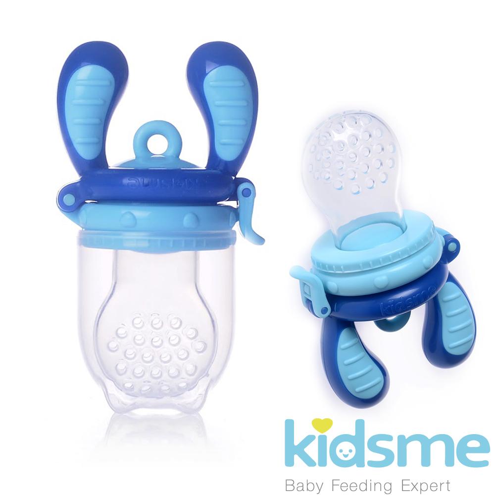任-英國kidsme-咬咬樂輔食器-藍色L號