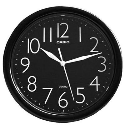 CASIO 流線大方指針圓形掛鐘(IQ-01-1)-黑/24.5cm