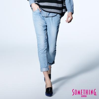 SOMETHING清甜女孩綁帶休閒甜筒褲-女款-漂淺藍