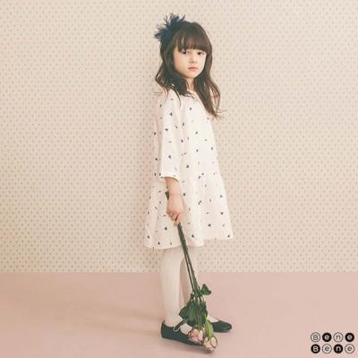 韓國 Bene Bene 羽毛點點白色長袖洋裝
