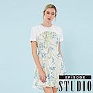 EPISODE Studio - 繁花假期拼接雪紡修身洋裝 (藍)