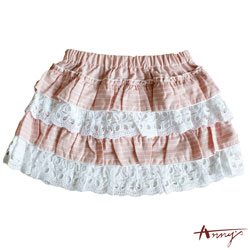 Annys甜美蛋糕蕾絲拼接條紋短裙*0164粉
