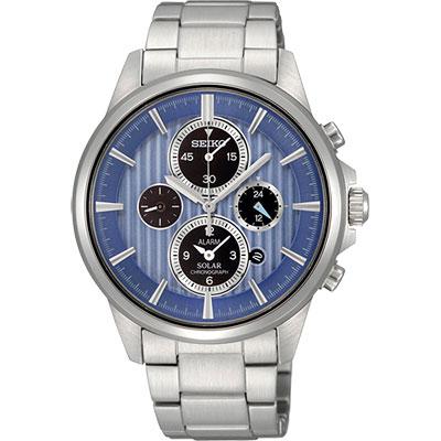 SEIKO-王者之劍太陽能鬧鈴兩地時間腕錶-SSC025P1-藍-40mm