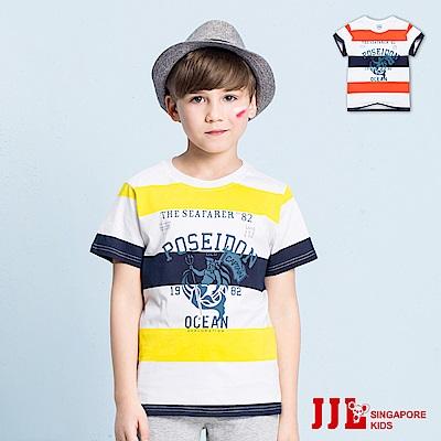 JJLKIDS 時尚條紋舒適純棉短袖上衣T恤(2色)