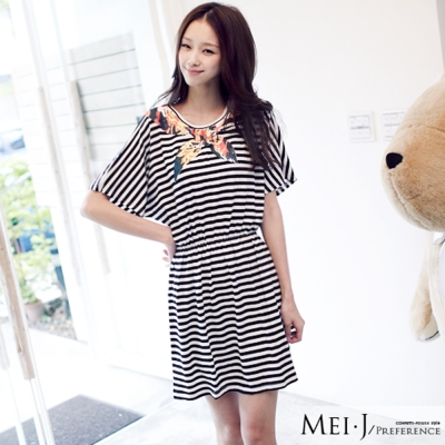 洋裝-印花領巾橫條紋修身縮腰洋裝-黑-小美日系