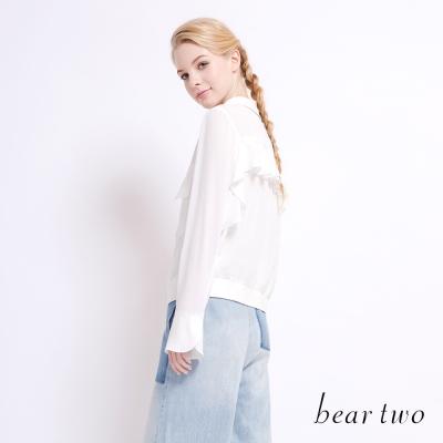 beartwo 清新感拉鍊開襟雪紡外套(白色)-動態show