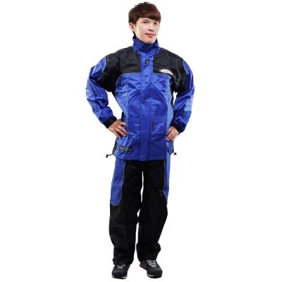 [快]天龍牌 新重裝上陣F1機車型風雨衣-藍色+通用鞋套