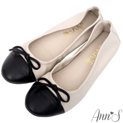 Ann'S輕膚系列-優雅小香風全羊皮平底娃娃鞋-米杏