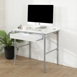 BuyJM鏡面白低甲醛粗管抽屜工作桌/寬80cm-DIY