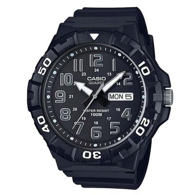 CASIO 旋轉計時潛水風三針運動錶(MRW-210H-1A)-黑X白時針53.1mm