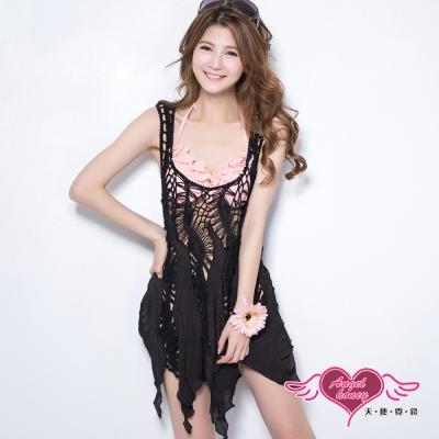 天使霓裳 夏季百搭 長板針織不規則背心外搭罩衫(黑F)