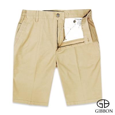 GIBBON 彈性舒適斜紋休閒短褲‧褐色M-3XL