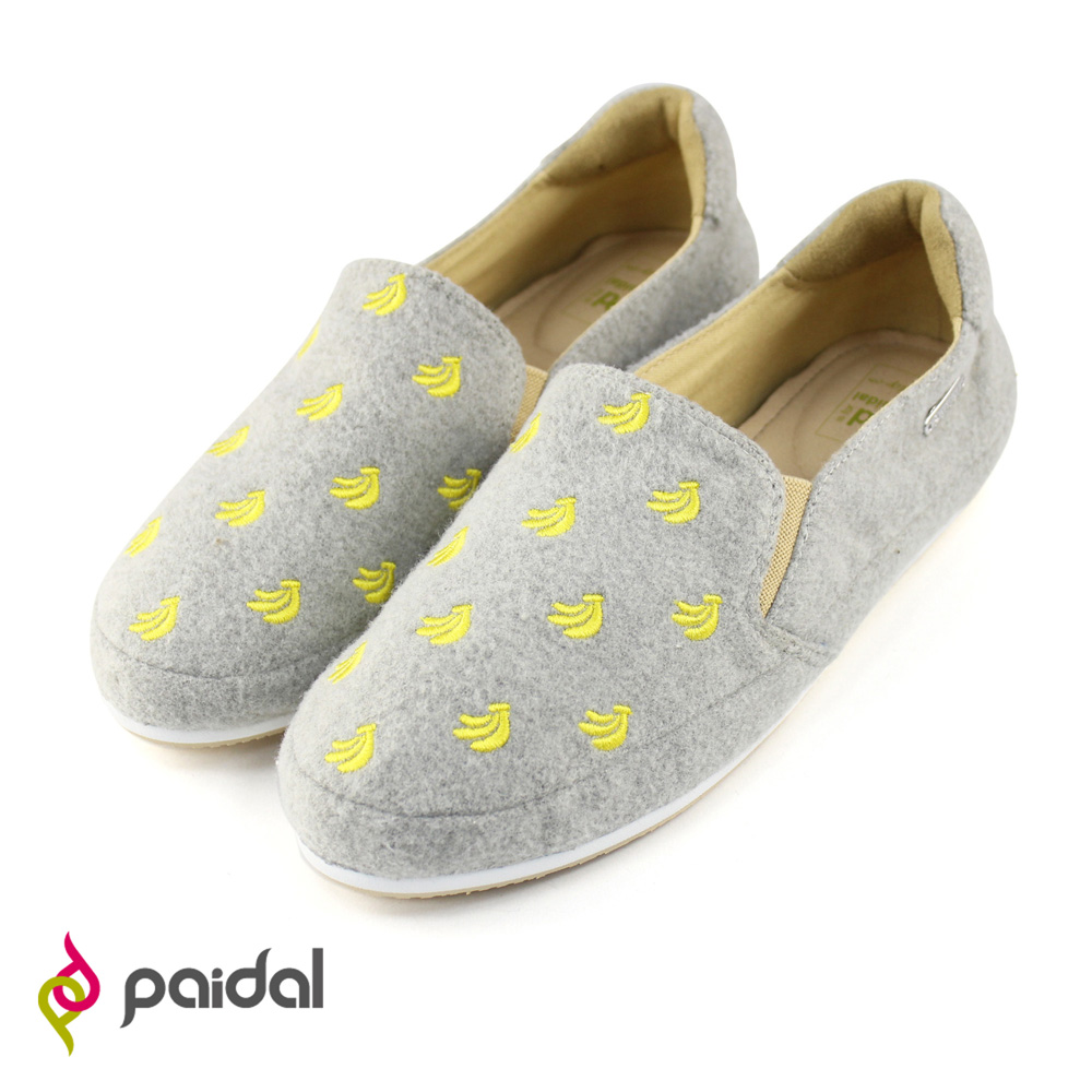 Paidal趣味香蕉印花平底休閒鞋樂福鞋-時尚灰