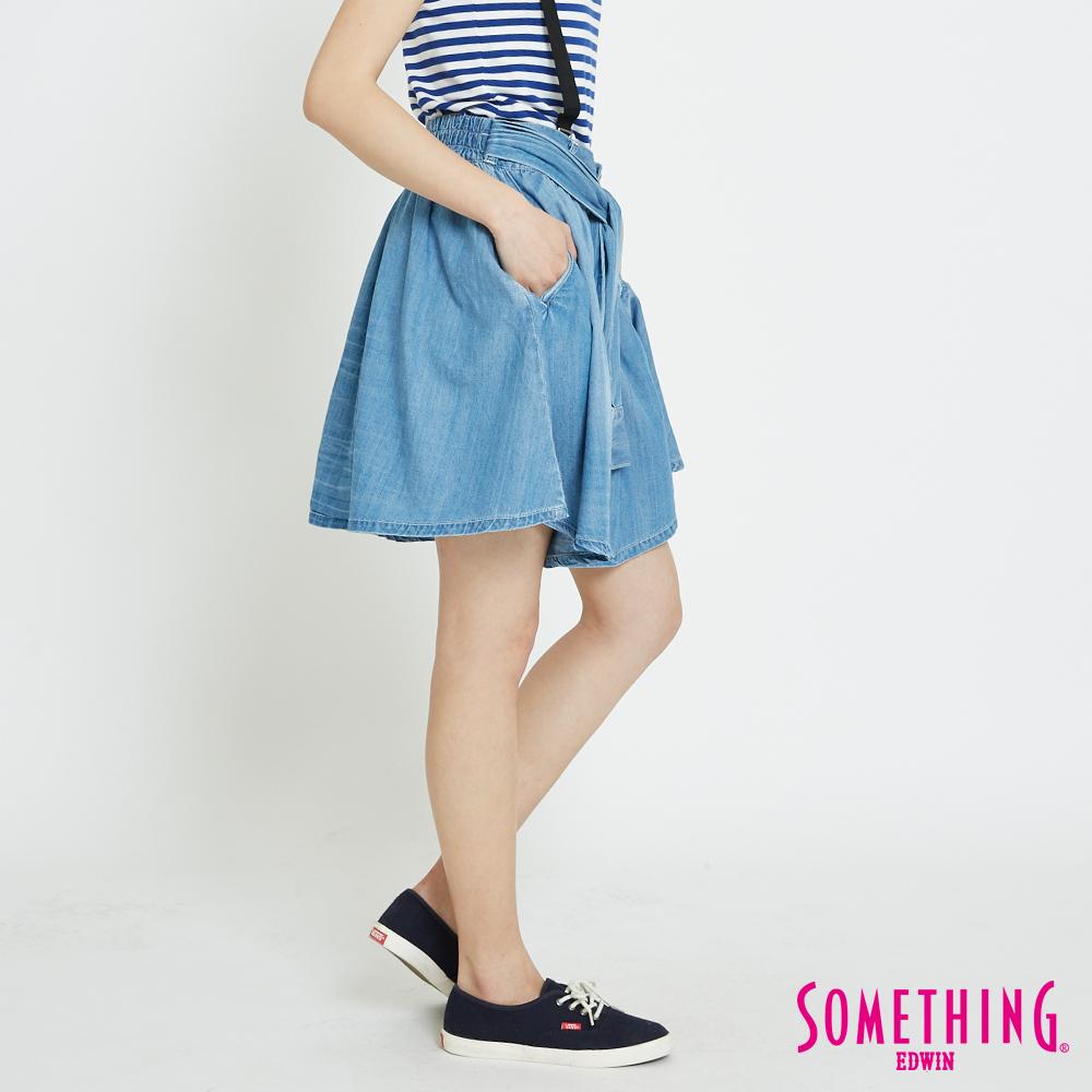 SOMETHING 天絲®綁袖造型圓裙-女-漂淺藍