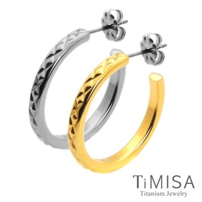 TiMISA 格緻星光-細版(雙色)純鈦耳環一對