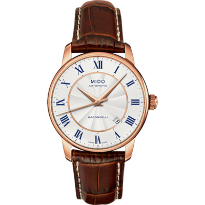 MIDO Baroncelli II 羅馬假期機械腕錶-銀x玫塊金框/38mm M86002218