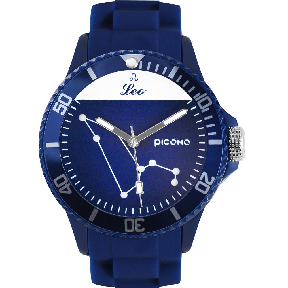 PICONO 星座系列休閒腕錶-獅子座x藍/48mm