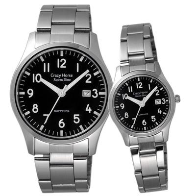 Roven Dino羅梵迪諾 瘋狂之馬日期時尚對錶-黑/40X27mm