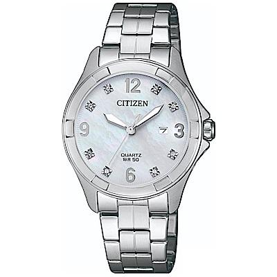 CITIZEN星辰 時尚名媛風白蝶貝石英女錶 (EU6080-58D)-白色/32mm