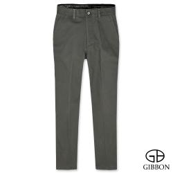 GIBBON 彈力防寒刷毛格紋休閒褲‧灰綠30-42