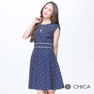CHICA 法式小白點束腰無袖洋裝(2色)