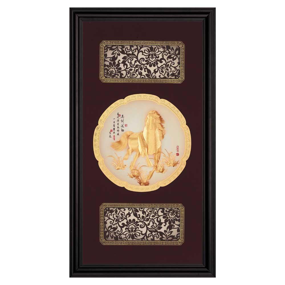 鹿港窯-立體金箔畫-馬到成功(圓滿系列27.5x50.5cm)