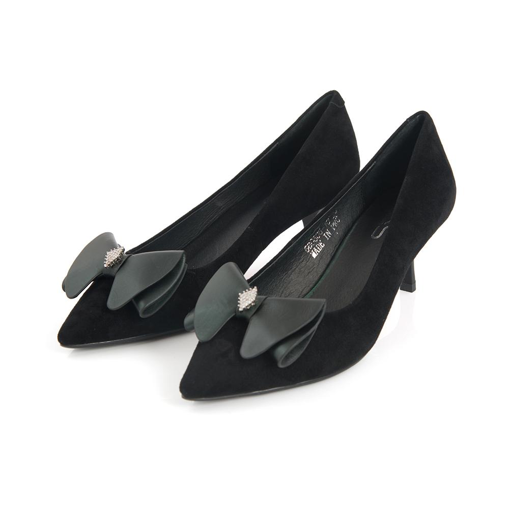 TAS 蝴蝶結水鑽羊麂皮尖頭高跟鞋-成熟黑