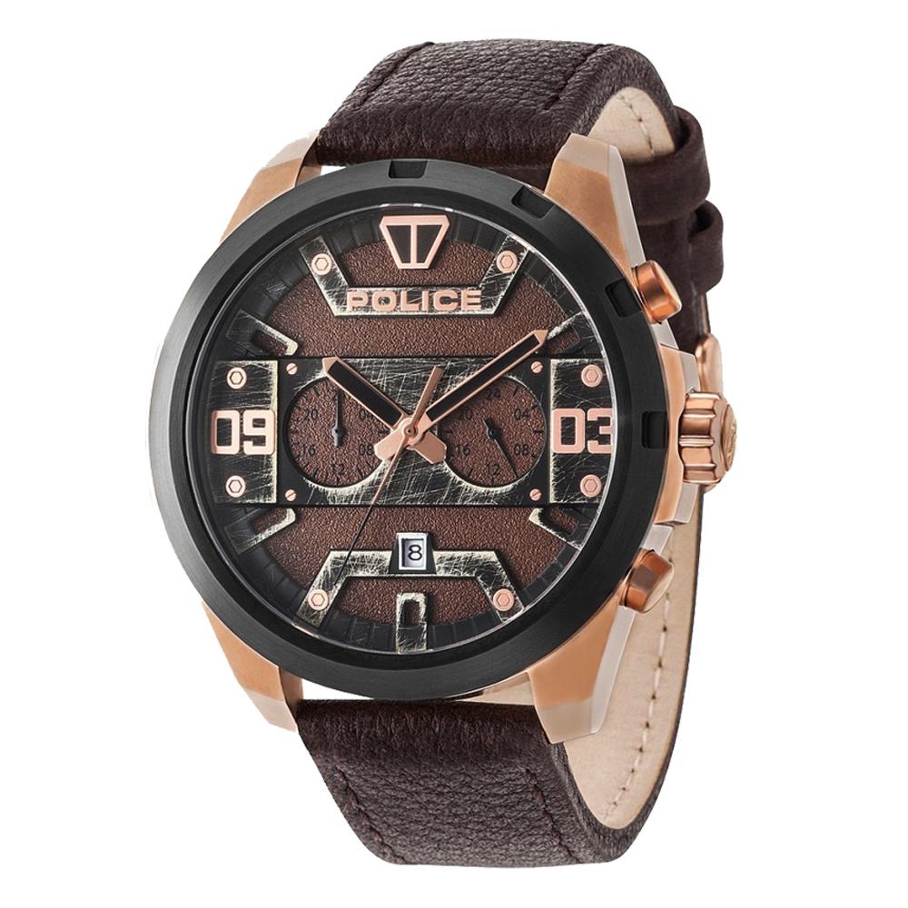 POLICE 星際元素雙時區腕錶-15365JSRB-12-50mm