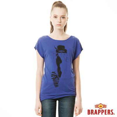 BRAPPERS 女款 肩部鑽飾人像印花短袖上衣-紫藍