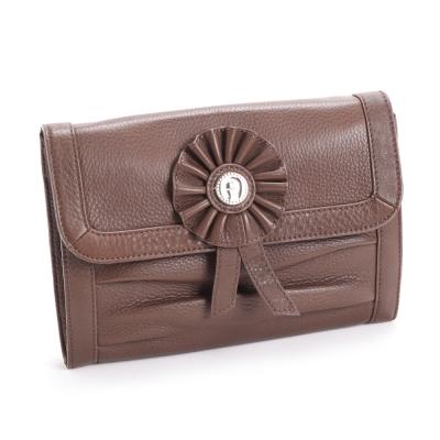 AIGNER Evening Bag系列 真皮徽章鐵鍊肩背晚宴包-巧克力