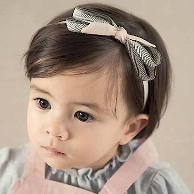 韓國 Happy Prince 灰白山形紋粉色蝴蝶結髮帶
