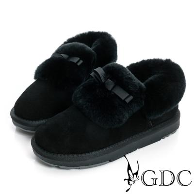 GDC溫暖-蝴蝶結鋪毛真皮短筒雪靴-黑色