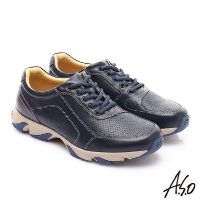 A.S.O 輕量抗震 真皮質感綁帶奈米休閒鞋 藍色