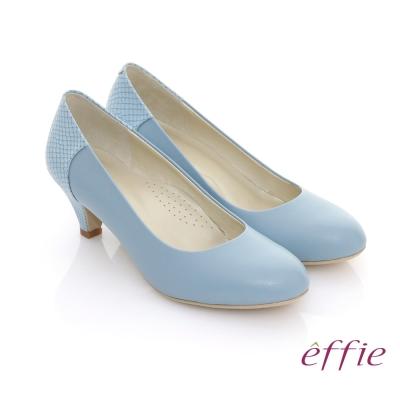 effie 俏甜OL 全真皮素面後壓紋跟鞋 藍