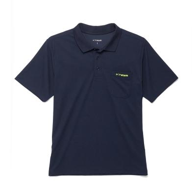 V.TEAM-簡約設計吸排口袋POLO衫-藍