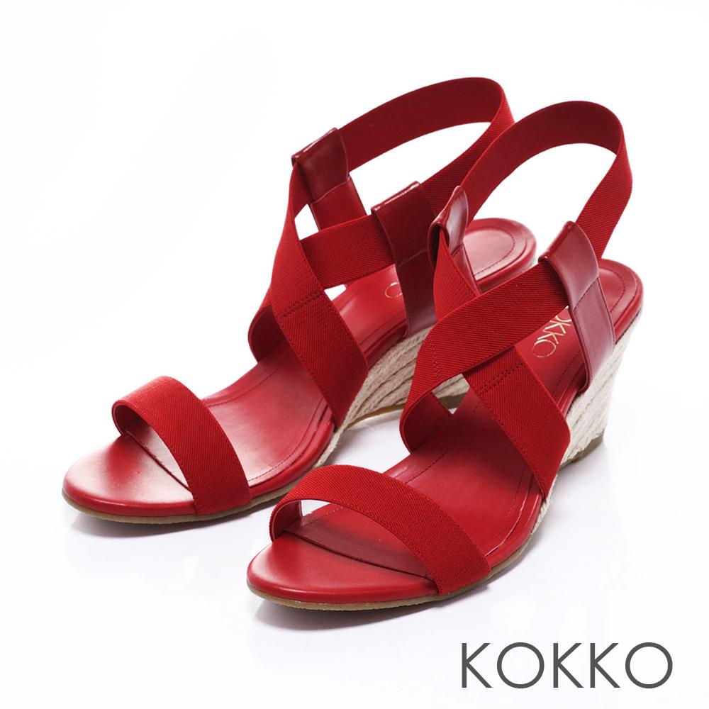 KOKKO日本同步百搭羅馬麻繩楔型涼鞋純紅
