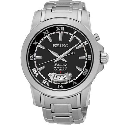 精工 SEIKO Premier 羅馬萬年曆紳士錶-黑x銀色/41mm