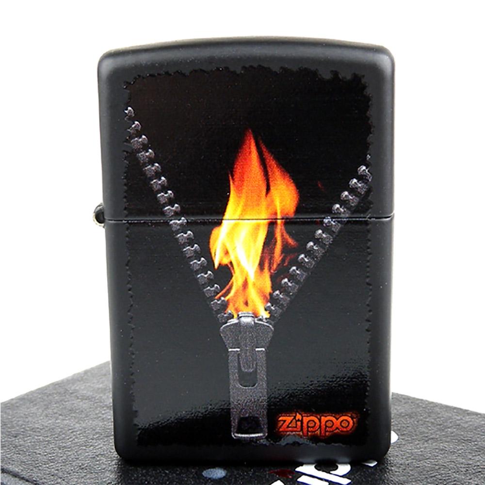 ZIPPO美系-Zipped-火焰拉鍊圖案彩印加工打火機