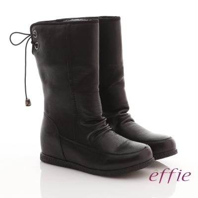 effie 城市漫遊 質感素面自然皺摺中長靴 黑