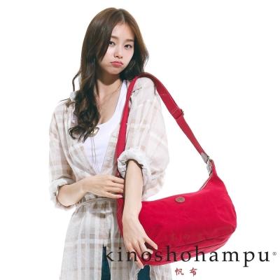 kinoshohampu-雙拉鍊休閒彎月包-紅色