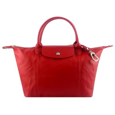 Longchamp Le pliage Cuir小羊皮短帶折疊水餃包/斜背包(櫻桃紅/小)