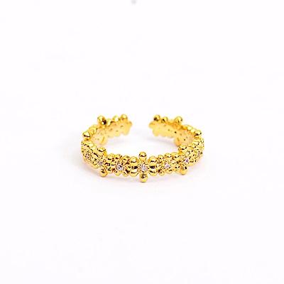 微醺禮物 戒指 正韓 鍍16K金 小花牽手 浪漫可愛 開口式 尾戒 指節戒