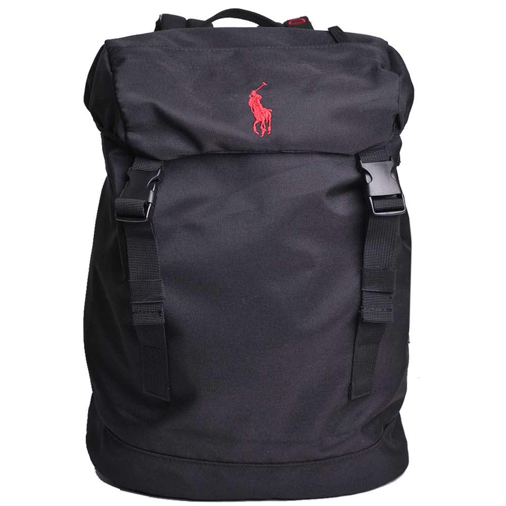 POLO Ralph Lauren 品牌LOGO圖騰刺繡尼龍雙扣後背包(黑/紅馬)