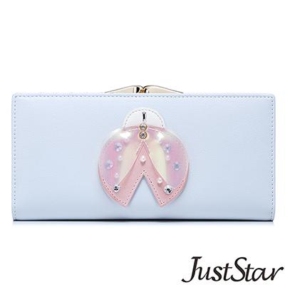 Just Star 珍珠閃鑽瓢蟲框釦長夾 清新藍
