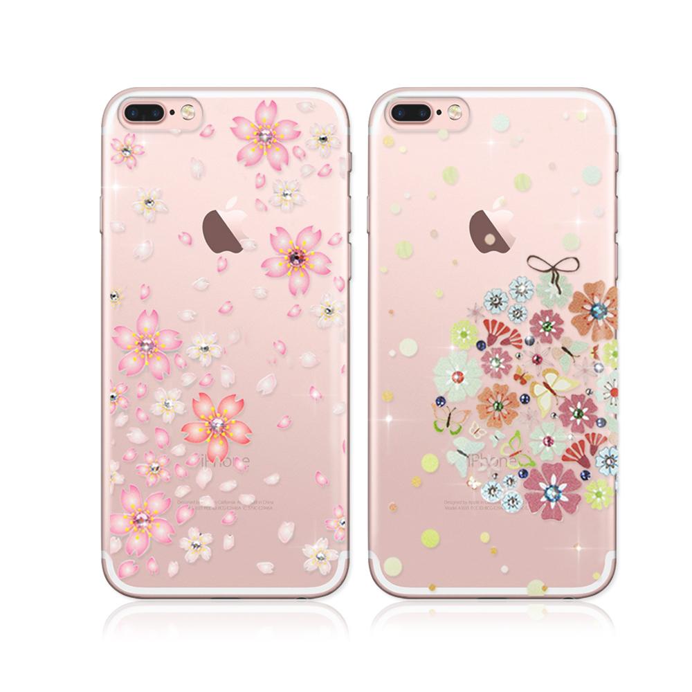 PGS施華洛世奇彩鑽iPhone7 Plus 5.5吋花語水晶軟式保護殼