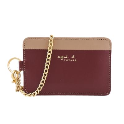 agnes-b-VOYAGE-燙金雙色皮革證件夾