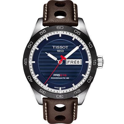 TISSOT天梭 PRS516 賽車動力儲存80機械錶-藍x咖啡/42mm