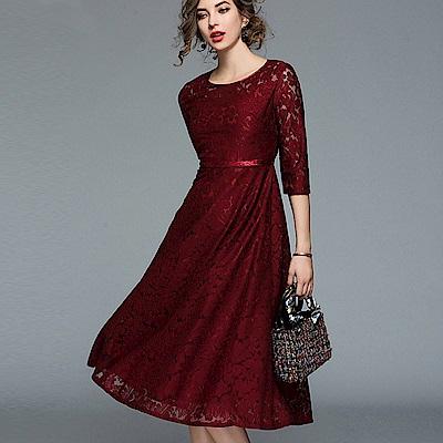 ABELLA 艾貝拉 深色亮面緹花中袖剪裁中長裙洋裝(二色/S-2XL)