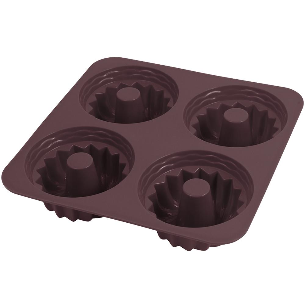 GP&me Dolce四格矽膠甜甜圈烤盤(咖7.5cm)